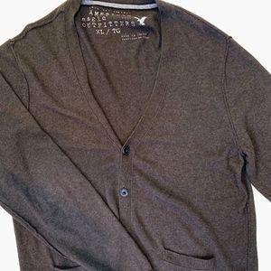 American Eagle Brown Cotton Cardigan.  Size XL